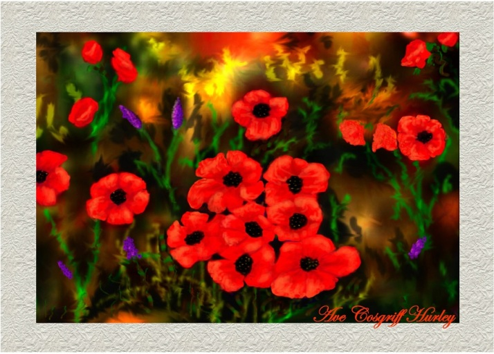 Poppies - by Ave Hurley  - Now available as Prints, Cards,clothing & Art Products