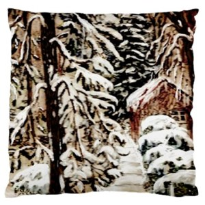 AHP-102 Castle Yard In Winter by Ave Hurley Large Flano Cushion Case (Two Sides)1